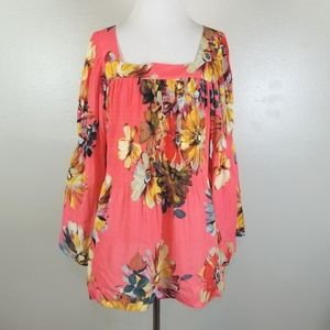 Spense Coral Floral Bell Sleeve Blouse Size XL